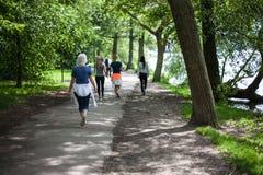 强有力的愉快的老年人是走,跑在公园 库存照片