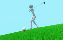 强有力的摇摆俱乐部高尔夫球运动员 免版税库存照片
