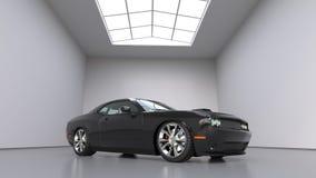 强有力的黑概念性跑车 明亮的大室 3d例证 库存例证