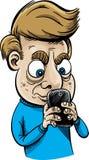 强烈的短信的人 免版税库存照片