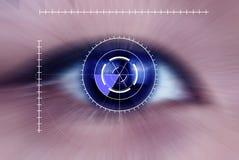 强烈的蓝色肉眼,宏指令 库存照片