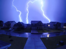 强烈的闪电在Summerville, SC 图库摄影