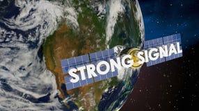 强的信号卫星地球覆盖面3d回报例证 免版税库存照片