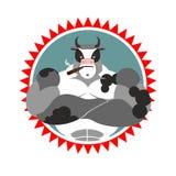 强的公牛与玻璃和与雪茄 体育俱乐部的商标 免版税库存照片
