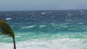 强的泡沫似的海在海岸线,在尼斯,法国海景的多暴风雨的天气挥动 影视素材