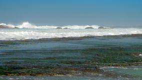 强的海浪崩溃到与白色泡沫的棕色岩石里 影视素材