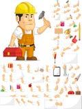 强的建筑工人定制的吉祥人集合 免版税库存图片