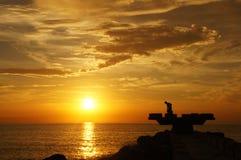 强的黄色日落,哥伦比亚 免版税库存照片