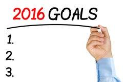 强调2016个目标的商人发短信与黑毡尖或m 图库摄影