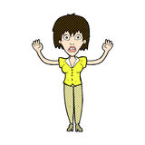 强调说可笑的动画片的妇女  免版税库存照片