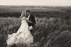 当一对婚姻的夫妇站立i时,风横跨高草吹 免版税库存照片
