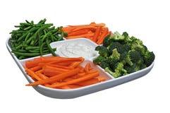 当事人盛肉盘蔬菜 免版税库存照片