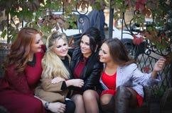 当他们见面时,谈话四名的妇女获得乐趣 免版税库存照片