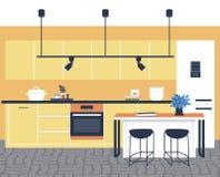 当代厨房内部不平展倒空人房子室现代公寓设计 向量例证