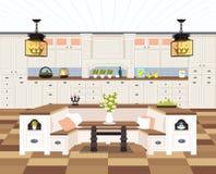 当代厨房内部不平展倒空人房子餐厅现代公寓设计 皇族释放例证
