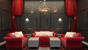 当代在黑地板和黑墙壁上的室内部红色沙发 3d?? 皇族释放例证