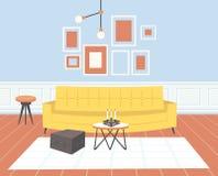 当代客厅内部空平展水平没有人家庭现代公寓的设计 皇族释放例证