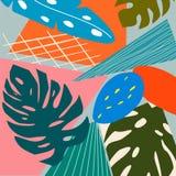 当代抽象色的背景 现代异乎寻常的热带植物例证 E 库存例证