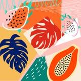 当代抽象色的背景 现代异乎寻常的热带植物和果子 E 皇族释放例证