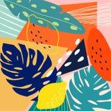 当代抽象色的背景 现代异乎寻常的热带植物和果子 E 库存例证