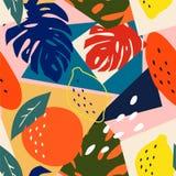当代摘要花卉无缝的样式 现代异乎寻常的热带水果和植物 传染媒介色的设计 皇族释放例证