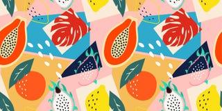 当代摘要花卉无缝的样式 现代异乎寻常的热带水果和植物 传染媒介色的设计 向量例证