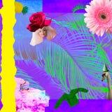 当代艺术拼贴画;有一朵花的玩偶头而不是帽子、棕榈叶和花;时尚拼贴画 免版税图库摄影