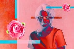 当代艺术海报与可爱的妇女的摘要拼贴画 最小的设计观念 : 向量例证