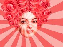 当代艺术海报与可爱的妇女的摘要拼贴画 最小的设计观念 : 库存例证