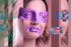当代艺术海报与可爱的妇女的摘要拼贴画 E : 库存例证