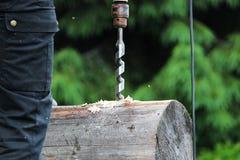 当修建一个木房子时,工作者收集框架并且操练在一本日志的一个孔定缝销钉的使用钻子 免版税库存图片