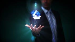 当前全息照相的立方体的商人 股票视频