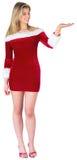 当前在圣诞老人成套装备的俏丽的女孩 免版税图库摄影