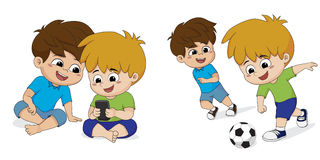 当前孩子使上瘾对在家打比赛 他们穿上` t lik 免版税库存照片