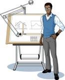 当前他的图纸的年轻非洲建筑师学生 免版税库存照片
