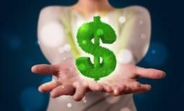 当前绿色发光的美元的符号的少妇 免版税库存照片