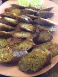 当地人北部泰国的烤香肠 库存图片