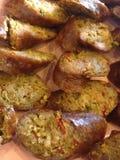 当地人北部泰国的烤香肠 免版税库存图片