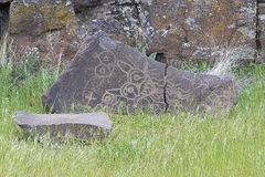 当地印地安神话动物刻在岩石上的文字 免版税库存图片