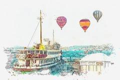 当地居民和游人的运输由海通过Bosphorus在伊斯坦布尔 向量例证