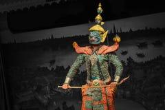 当地泰国样式面具,在皇家表现, Khon的用途 免版税库存照片