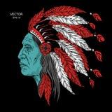 当地美洲印第安人院长的人 黑色蟑螂 老鹰羽毛头饰  极端体育帐篷 皇族释放例证