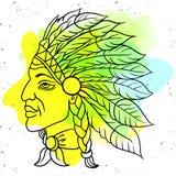 当地美洲印第安人院长的人 黑蟑螂 老鹰印度羽毛头饰  r 库存例证