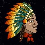 当地美洲印第安人院长的人 黑蟑螂 老鹰印度羽毛头饰  r 向量例证