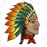 当地美洲印第安人院长的人 黑蟑螂 老鹰印度羽毛头饰  r 皇族释放例证