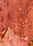 当地美洲印第安人佛瑞蒙刻在岩石上的文字资本礁石国家公园 免版税库存图片