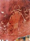 当地美洲印第安人佛瑞蒙刻在岩石上的文字资本礁石国家公园 库存图片