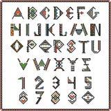 当地美洲印第安人字体或墨西哥字母表与数字 皇族释放例证