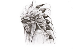 当地美洲印第安人战士纹身花刺草图  免版税库存照片