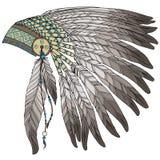 当地美洲印第安人首要headress 免版税库存图片